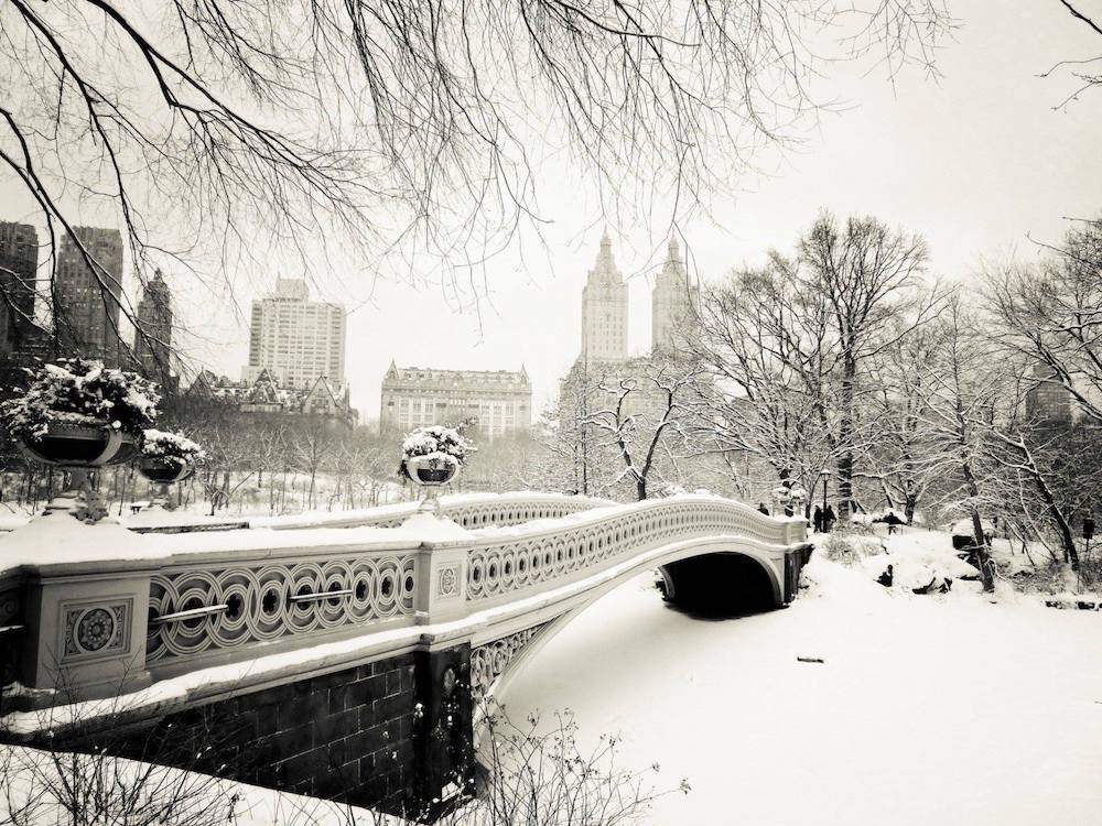 bow-bridge-new-york-central-park Une sélection d'images de la neige à New York #2018